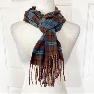 Cashmere plaid fringed brown blue muffler/ scarf